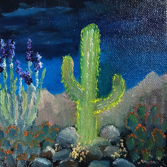 Cacti painting, cactus, night desert decor,  Small Oil Painting,  Cactus