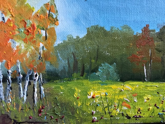 Sunrise Painting, Mini Painting with Easel, Tiny Art, Landscape Painting, Miniatures