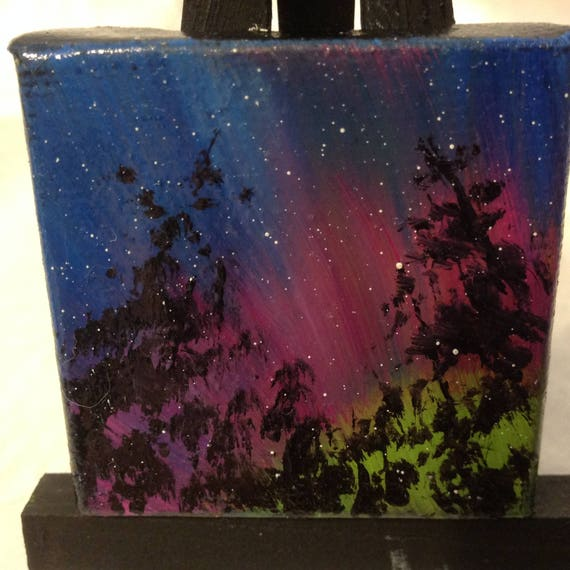 Mini Painting, Northern Lights, Painting with Easel, Landscape Painting, Small Art