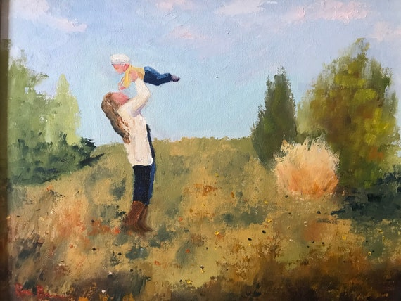 Nursery Painting, Mother and Child art, Oil Painting, Indiana Sky, Rural Landscape