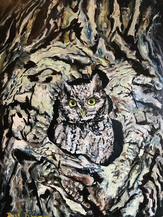 Owl Painting, Bird painting, Owl art,  Small owl painting, owl oil painting, nursery painting