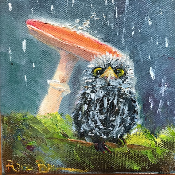 Owl Painting, Small Oil Painting, Baby Shower Gift, Whimsical Art, Country Rustic Art
