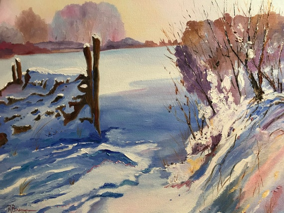Snow Painting, Large Landscape Painting, Rustic Field Scene, Snow Painting, Winter Art, Oil Painting