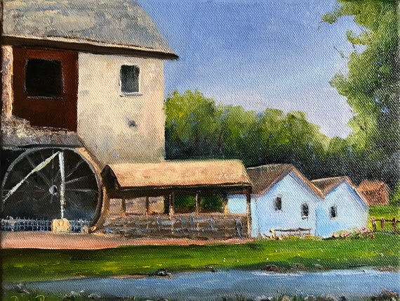 Spring mill park, water wheel, grist mill, small painting, Indiana painting, Indiana state park