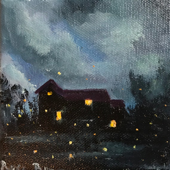 Moonlight Painting, Easel, Summer Art, Lake Art, Landscape Painting, Miniatures