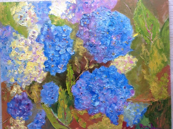 Blue Hydrangas, Oil Painting, Plein Air Landscape, Monet's Garden, Blue Flowers