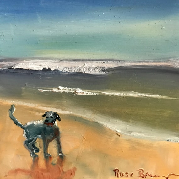 Dog painting, beach painting, Miniatures, dogs at the beach, Small Art