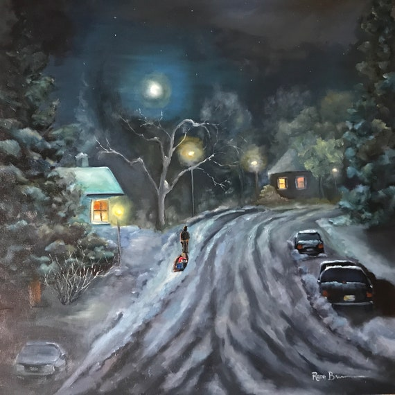 Snow, sled ride, night painting, large canvas painting, nocturne, transportation painting