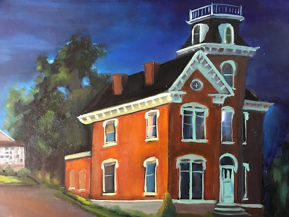 Nocturne, night painting, cityscape, brick building, Bedford Indiana, Otis Park, Pine Hall, XL Painting, large canvas painting