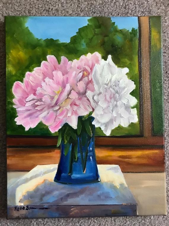 Flower Painting, Still Life, Bedroom Decor, Living Room Art