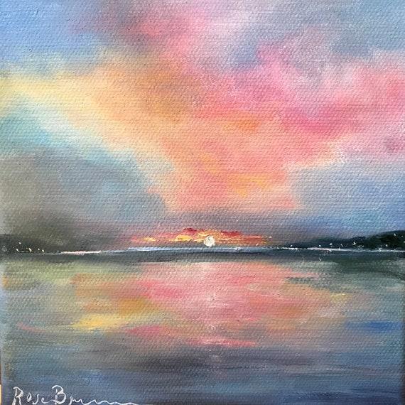 Sunrise Painting, Lakeshore Art, Lake Art, Landscape Painting, Miniatures