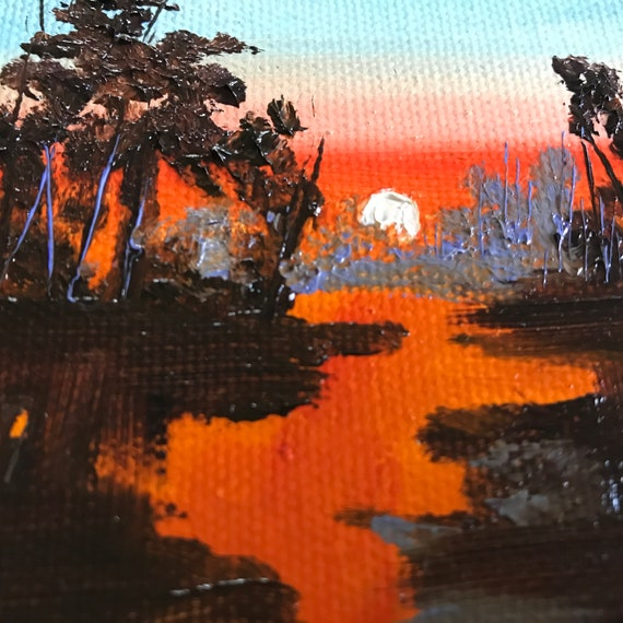 Orange, Miniatures, Small Art, Tiny painting, Sunset River Painting