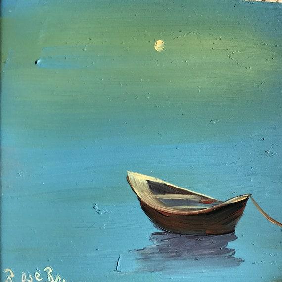 Boat painting, fishing boat, Small Art, Tiny painting