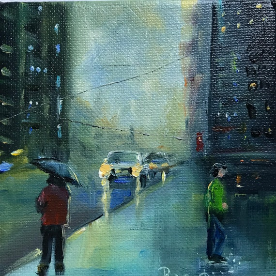 City Nocturne, Small Oil Painting,  Rain Painting, Umbrellas, Tiny Art