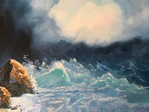 Ocean Painting, Stormy Ocean, Beach Art, Seascape, Ocean Painting
