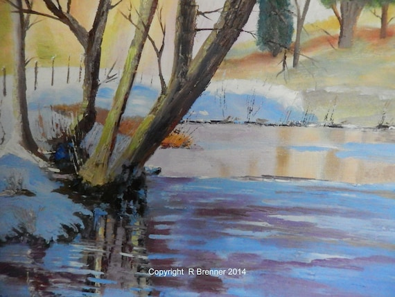 River Painting, Lake Art, Snow Painting, Winter Scenery, River Scene, Gifts for Her