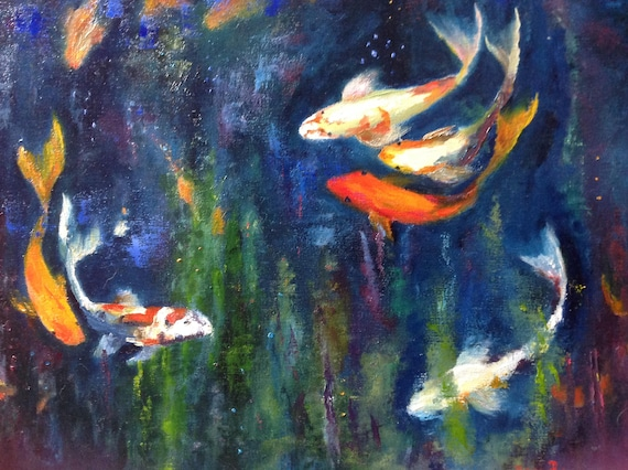Lily Pond, Goldfish, Zen Art, Award Winning Painting, Waterscape, Extra Large Painting,