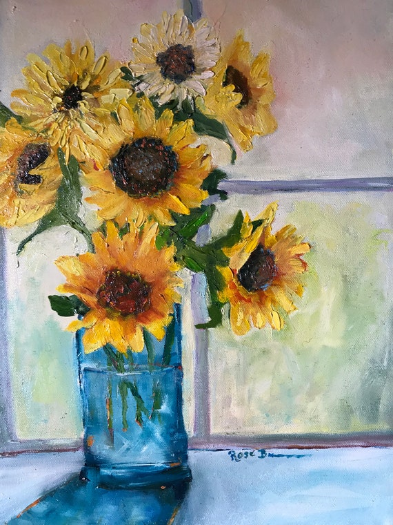 Sunflower Painting, Sunflower picture, windowsill, Still life picture