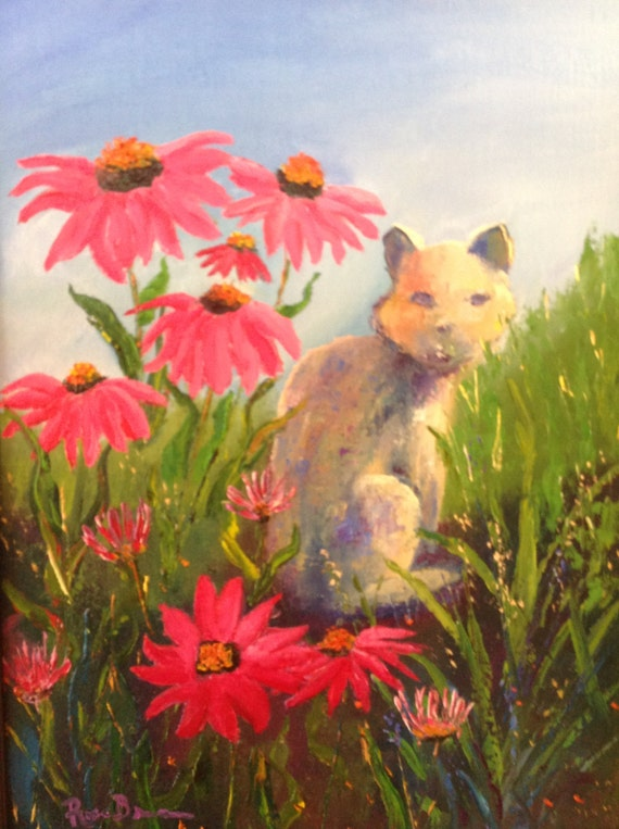 Cat Painting, Red Cone Flower Painting, Cat Painting, Art for Cat Lovers