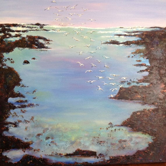 Large Ocean Painting, Seascape Oil Painting, Coastal Low Tide, Beach Tide Pool