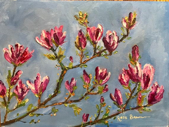 Spring Landscape, Plein Air Painting, Landscape Painting, Magnolia Tree, Bedroom Decor