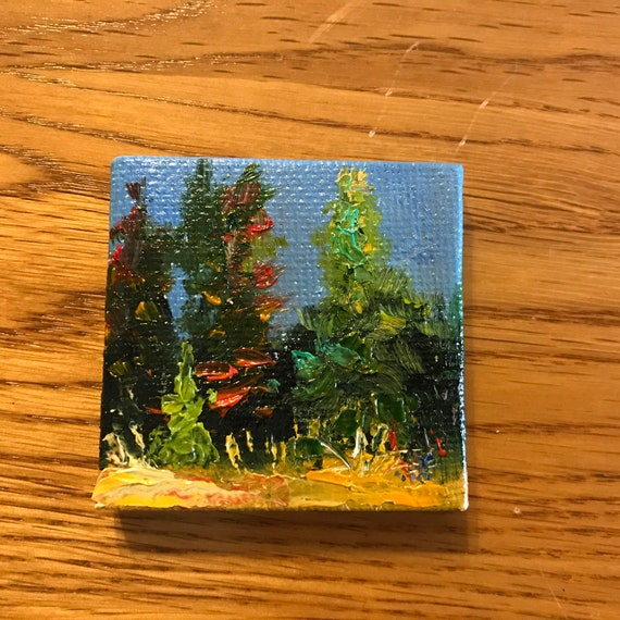 Miniatures, Dawn Landscape, Evergreen painting, Tiny art, Mini landscape