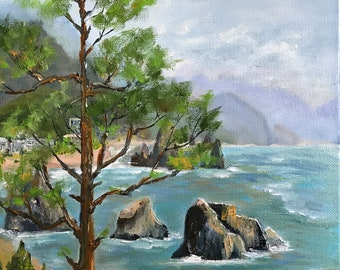 Oregon coast, Oregon beach, Canon Beach painting, canvas painting, Haystack painting, ocean painting