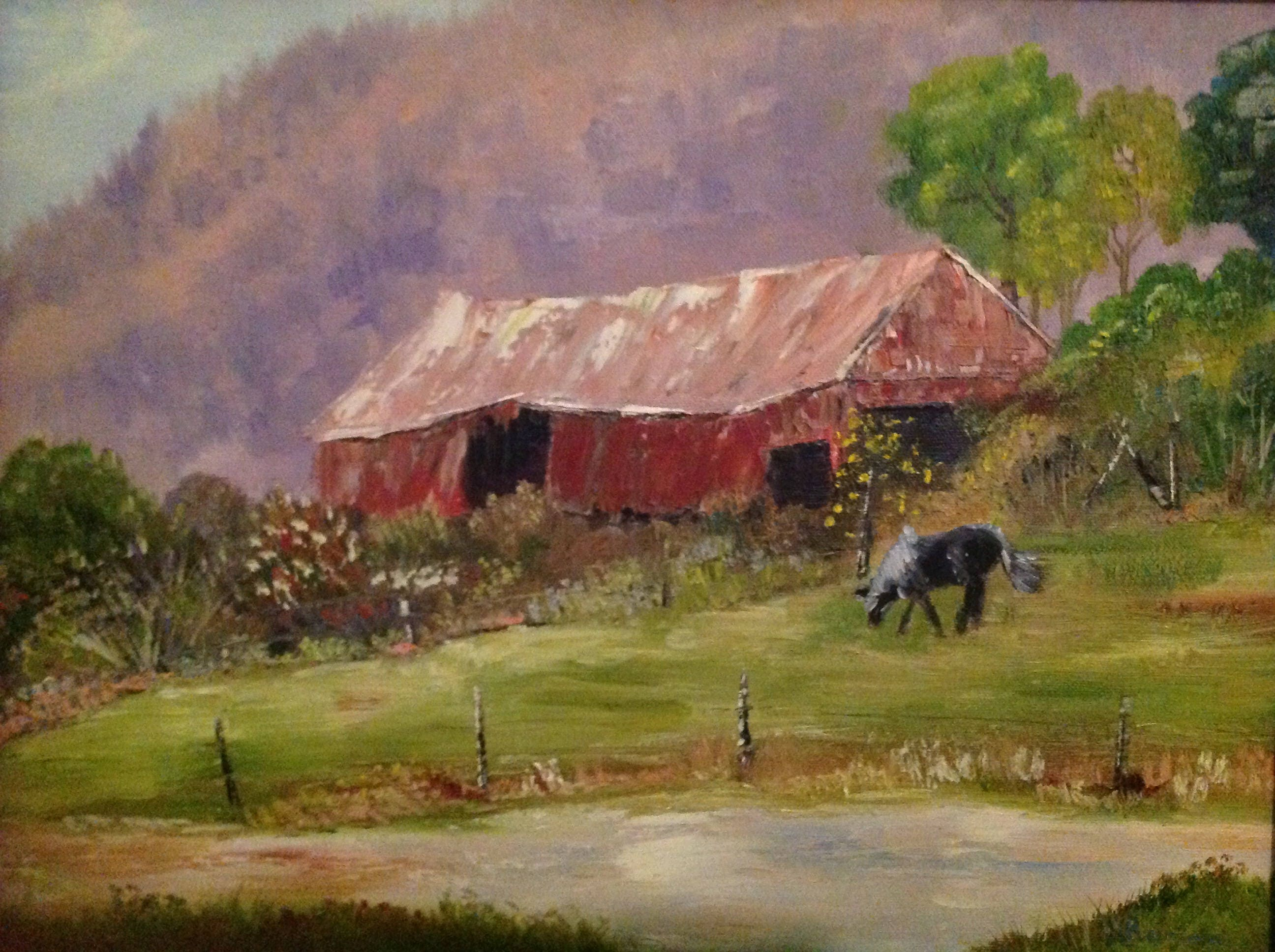 Horse Barn Painting Landscape Oil Painting Horse Painting Barn And Horse Farm Painting Gifts For Dad