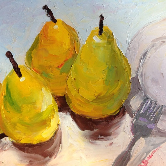 Yellow Pears, Kitchen art, Small Oil Painting, Tiny Still Life, Fruit art
