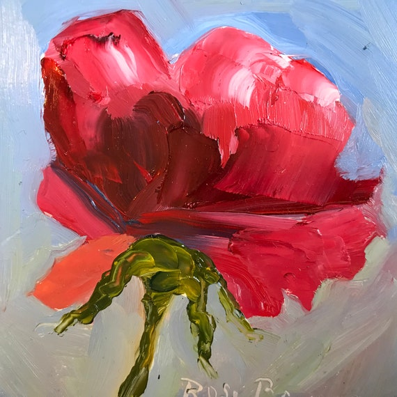 Red rose, Flower painting, Miniature, Spring,  Small Art, Tiny painting
