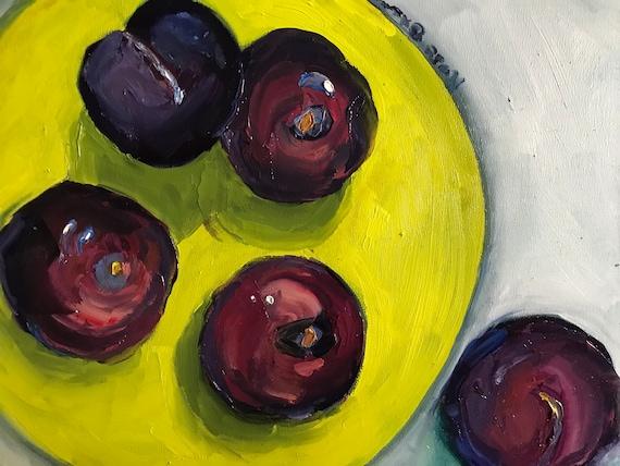 Plum painting, purple plums, food art, chartreuse, food painting