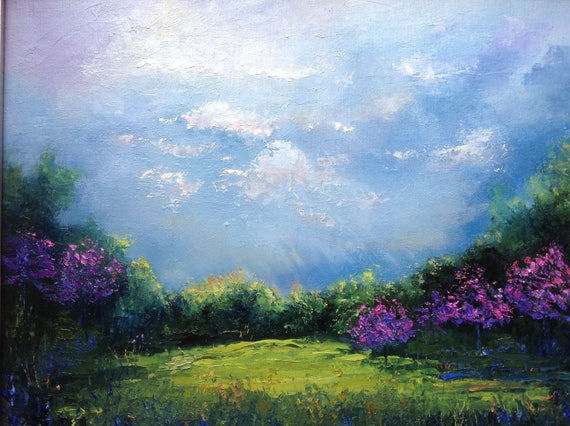 Spring Trees,  Landscape Painting, Rustic Field Scene, Pink Dogwood Painting, Sky Art, Large Painting