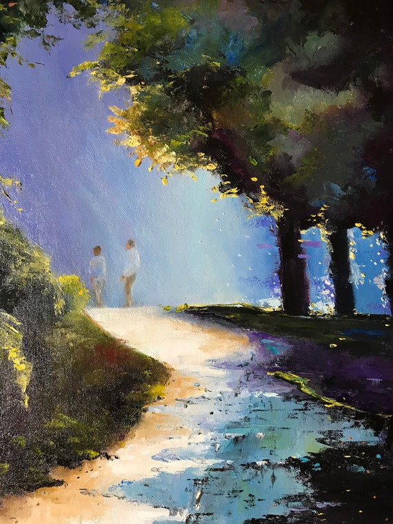 Sunset Painting, Friends Painting, Impressionist Painting, Sunset Stroll