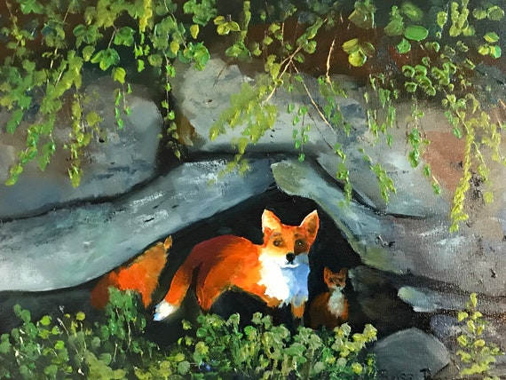 Fox painting, fox den, animal painting, orange painting, forest painting, nursery painting