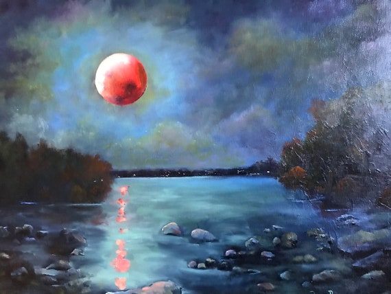 Blood moon, super moon, lunar eclipse,  storm decor, Landscape Painting, Vacation Painting, Nocturne painting