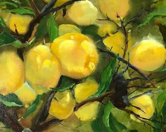 Lemon painting, kitchen art, lemon tree, food art, painting