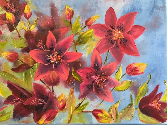 Lily painting, Summer Lilies, Summer Flowers Art Painting, Flower Art, Red Lilies Floral Art,