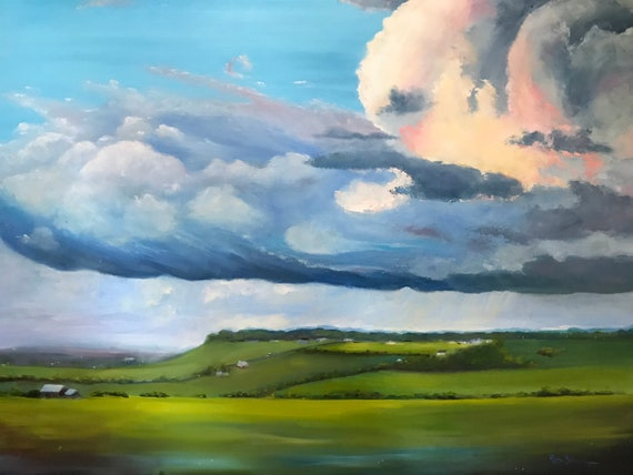 Sky Painting, Cloud Painting, XL Painting, Aerial View, Farm Painting
