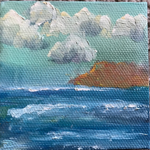 Tiny Painting, Mini Painting with Easel, Tiny Art, Landscape Painting, Miniatures