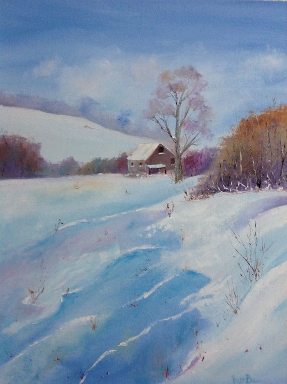 Snow Painting, Rustic Field Scene, Snow Painting, Winter Art, Large Painting