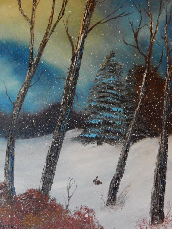 Rabbit in the Snow, landscape painting, winter snow painting, woods painting, Rabbit and woods
