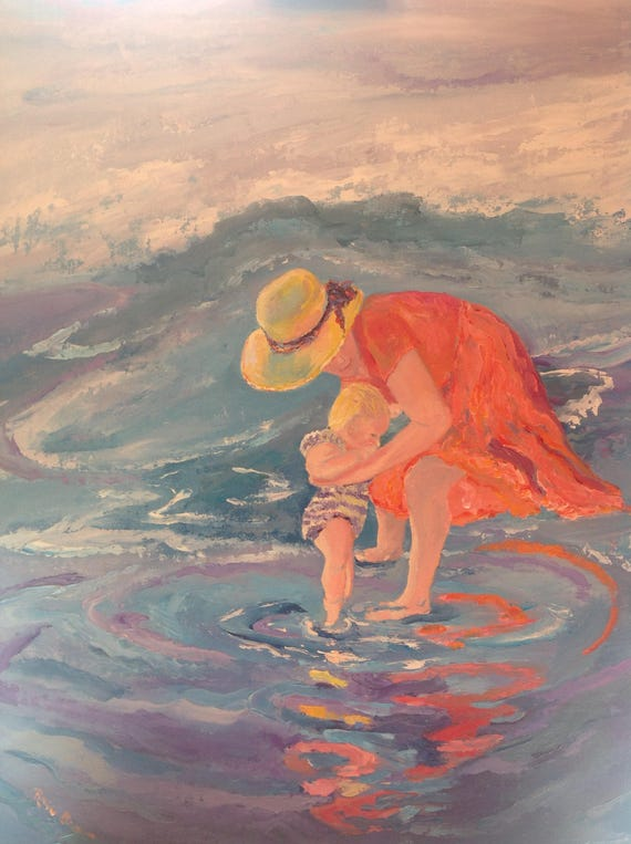 Child Painting, Beach Art, Beach Painting, Mother and Child at the Beach, Water Painting