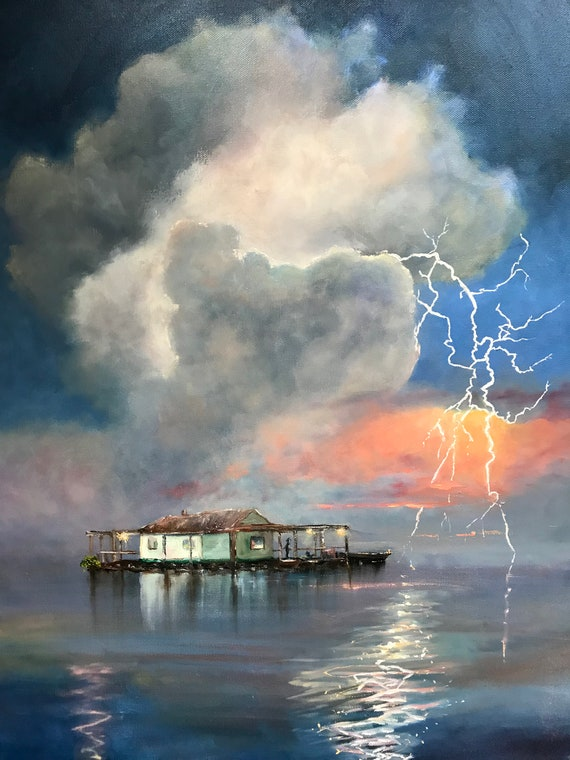 Lightning, storm decor, Landscape Painting, Vacation Painting,  Nocturne painting