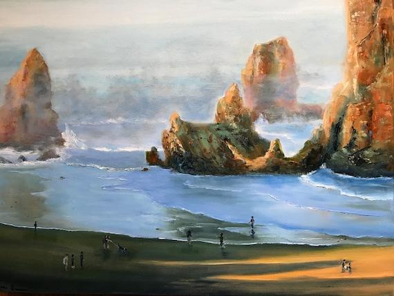 Ocean Painting, XLPainting, Deep Blue Sea, Oregon Art Decor
