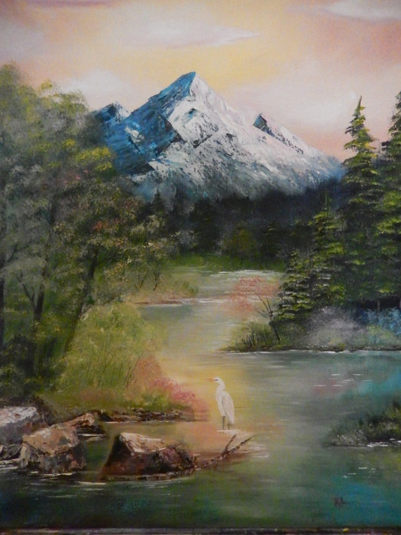 Western Mountain Painting, Lake Art, Bird Art