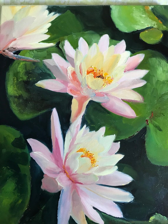 Water lilies, Flower Painting, Lilies, Landscape Painting, Vacation Painting,  Nocturne painting