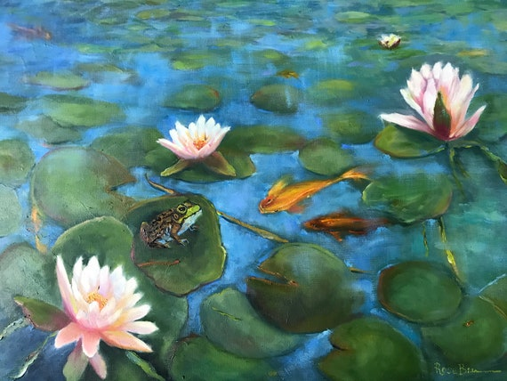 Fish painting, Lily pond, XLPainting, Monet style lily pond, Lilies, frog Painting, lily pads