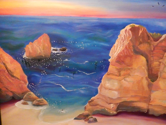 Sunset Painting, Extra Large Seascape, Landscape Painting,  Seascape, Ocean Decor, Original Oil Painting