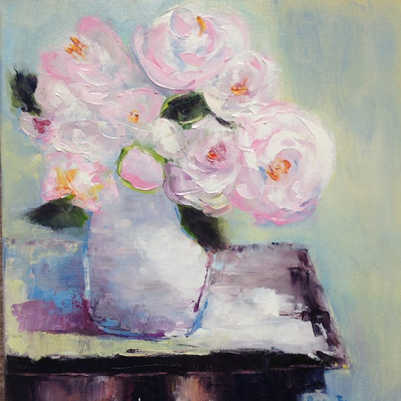 Flower painting, Pink Flowers, Still Life Painting, Rose Pink