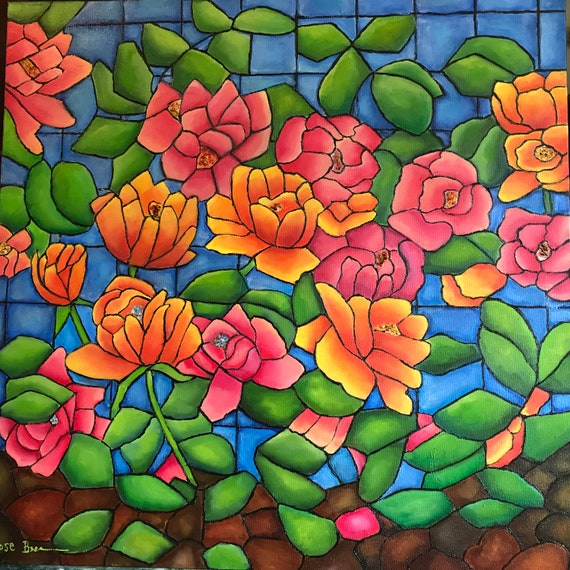 Rose painting, XL Landscape Painting, Pasadena roses, stained glass, extra large canvas painting,